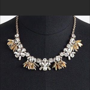 J Crew Gold Crystal Bouquet Statement Necklace